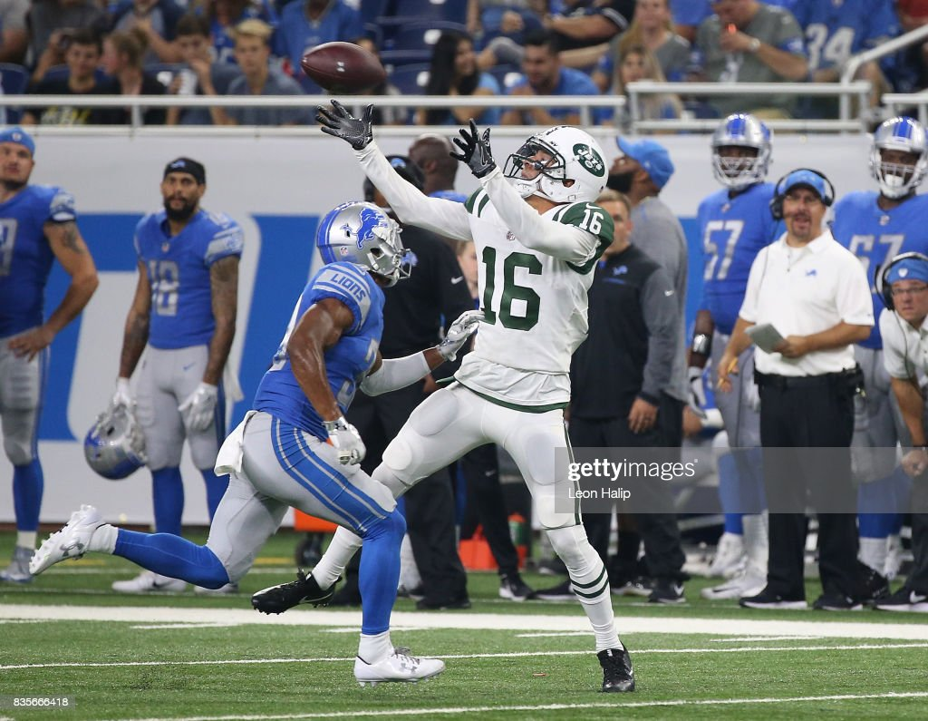 Myles White #16 of the New York Jets makes a fourth quarter catch as Jamal Agnew #39 of the Detroit Lions defends during the fourth quarter of the preseason game on August 19, 2017 at Ford Field in Detroit, Michigan. The Lions defeated the Jest 16-6.