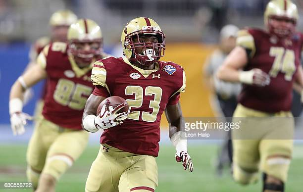 Myles Willis of the Boston College Eagles runs for a first down during the third quarter of the game against Maryland Terrapins at Ford Field on...