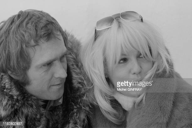 Mylène Demongeot et son mari Marc Simenon lors du Festival d'Avoriaz le 28 janvier 1974 France
