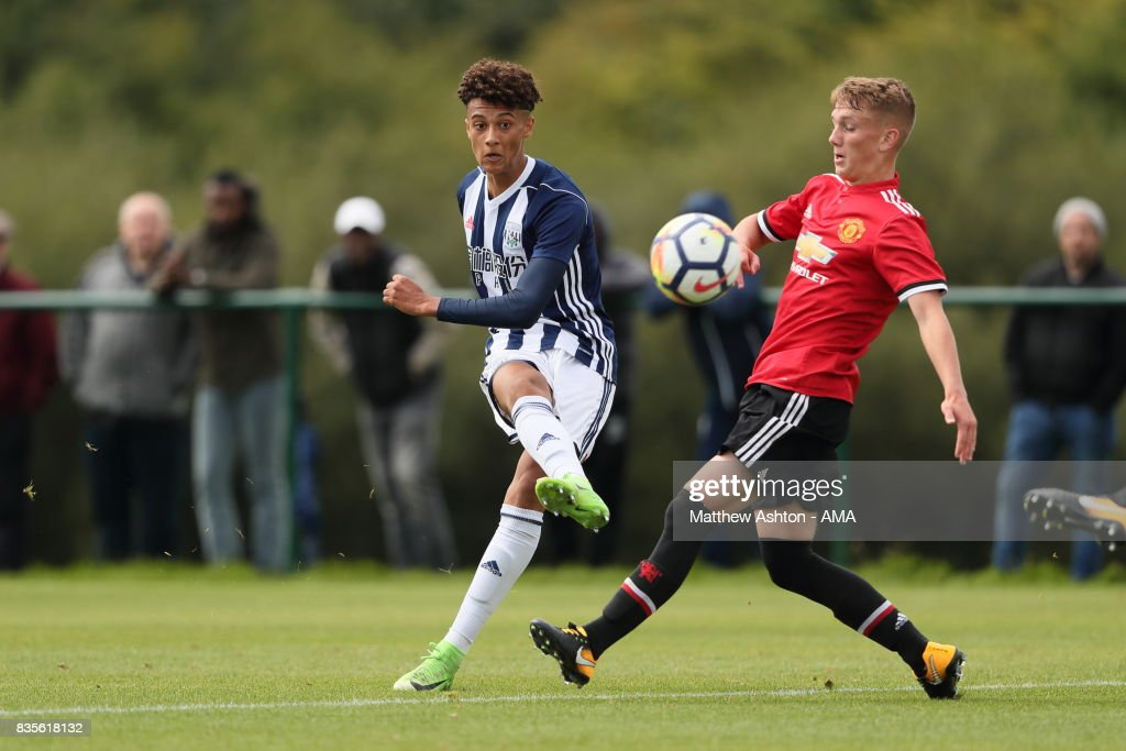 Mylo Hall of West Bromwich Albion scores a goal to make it 4-0 Mylo Hall of West Bromwich Albion scores a goal to make it 4-0during the U18 Premier League match between West Bromwich Albion and Manchester United on August 19, 2017 in West Bromwich, England.