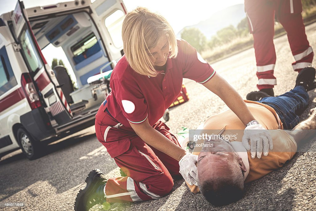 Myocardial attack on the street : Stock Photo