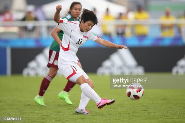 Myong Song An of Korea DPR in action during the FIFA U20 Women's World Cup France 2018 group B match between Korea DPR and Mexico at Stade du Clos...