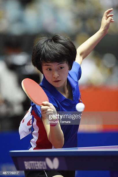 Myong Sun Ri of North Korea plays a forehand against Margaryta Pesotska of Ukraine during day five of the 2014 World Team Table Tennis Championships...