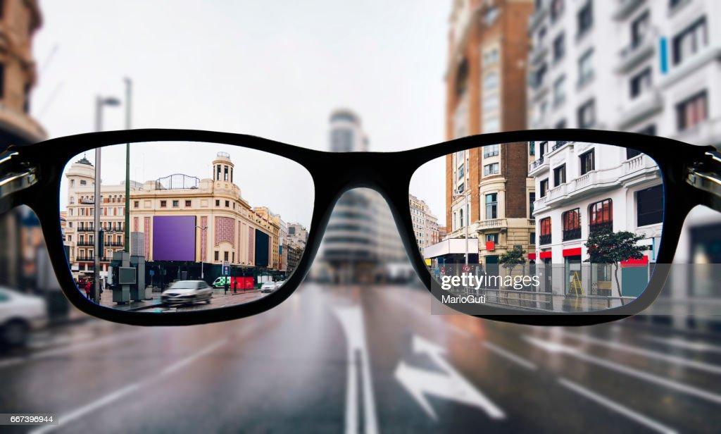 Myopia in Madrid : Stock Photo