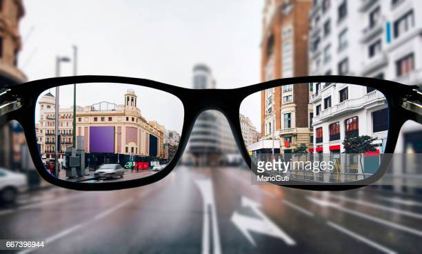myopia in madrid - image focus technique stock pictures, royalty-free photos & images