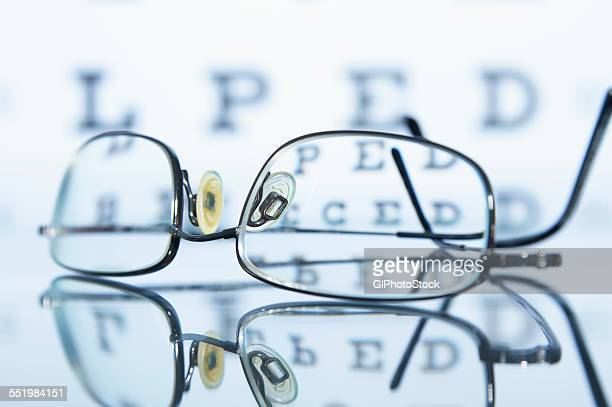 Myopic spectacles with a Snellen eye chart in the background