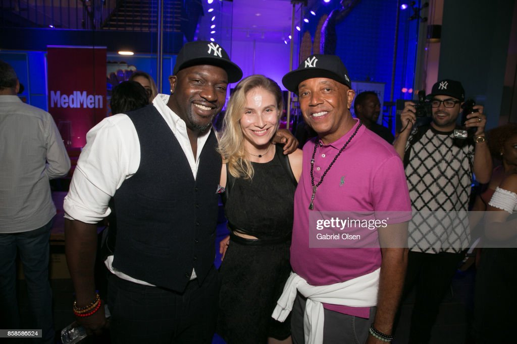Myorr Janha, guest and Russell Simmons attend Russell Simmons 60th Birthday Party at his Tantris Yoga Center on October 6, 2017 in West Hollywood, California.