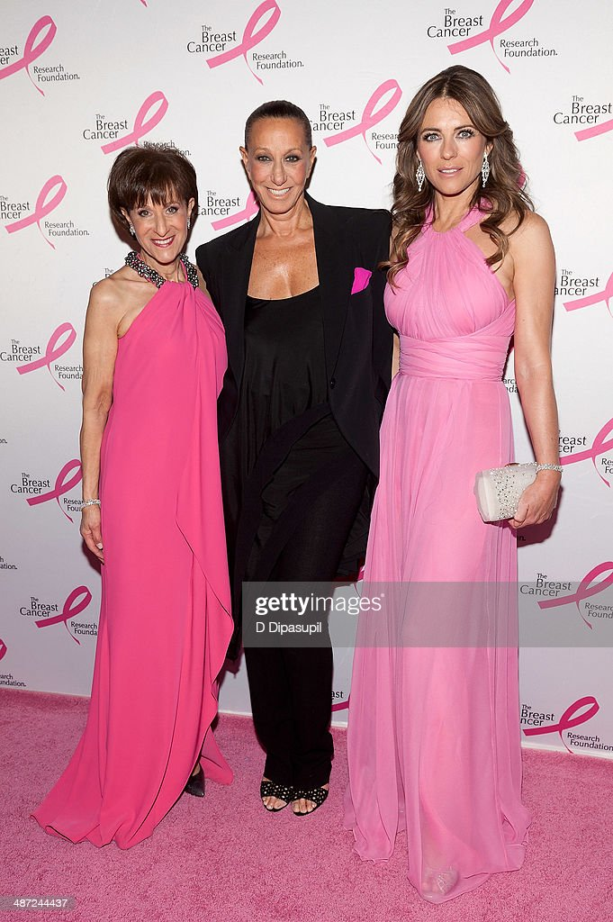 Myra Biblowit, Donna Karan, and Elizabeth Hurley attend The Breast Cancer Research Foundation 2014 Hot Pink Party at The Waldorf=Astoria on April 28, 2014 in New York City.
