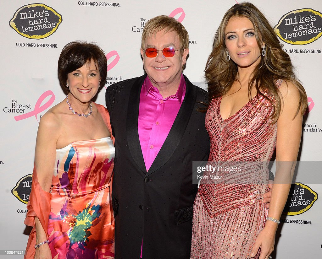 Myra Biblowit, Elton John and Elizabeth Hurley attend the Breast Cancer Foundation's Hot Pink Party at the Waldorf Astoria Hotel on April 17, 2013 in New York City.