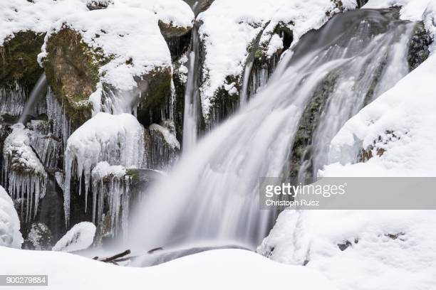 Myra Falls, icy waterfall in winter, long exposure, Piestingtal, Lower Austria, Austria