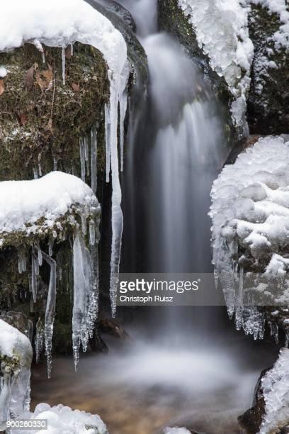 Myra Falls, icy waterfall in winter, long exposure, Piestingtal, Lower Austria, Austria