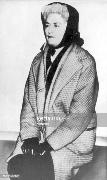 Myra Hindley Circa 1963 wearing dogs tooth jacket and scarf dressed in clothing she wore when visiting the moors The Moors murders were carried out...