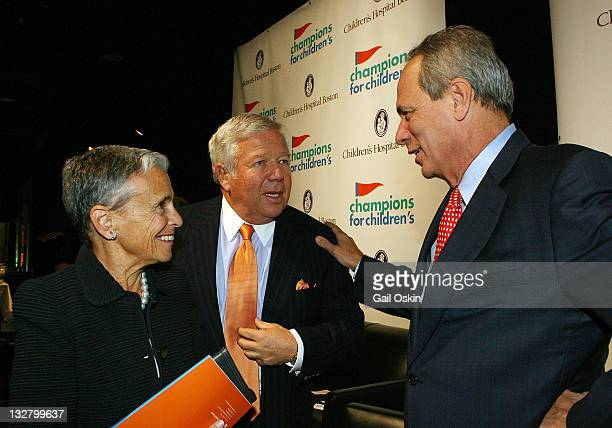 Myra Kraft Robert Kraft and Larry Lucchino attend Children's Hospital Boston Champions For Children's at World Trade Center on November 30 2010 in...