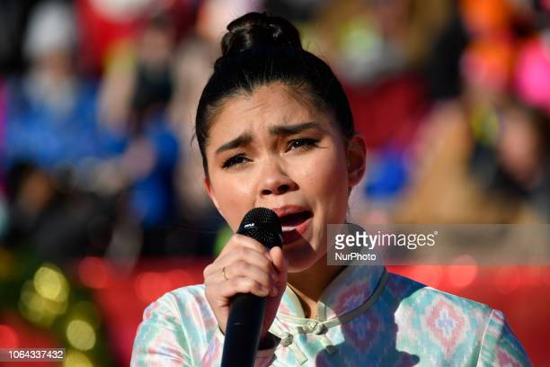 Myra Molloy of the local production of Miss Saigon performs during the live broadcast of the 99th 6ABC/Dunkin' Donuts Annual Thanksgiving Day parade...