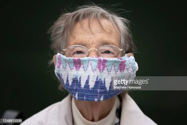 Myra poses for a photograph wearing a homemade face covering on June 10 2020 in Aberdare United Kingdom The Welsh government has further relaxed...
