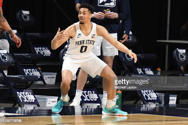 Myreon Jones of the Penn State Nittany Lions reacts to shot in the second half during a college basketball game against the against the Rutgers...