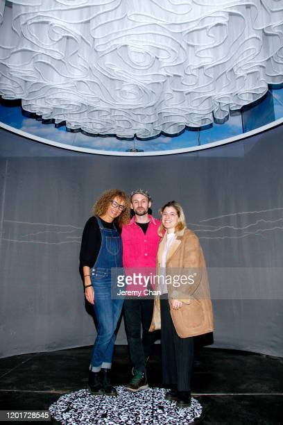 """Myriam Achard, Diego Galafassi and Jess Engel of """"Breathe"""" attend the New Frontier Press Preview during the 2020 Sundance Film Festival at New..."""