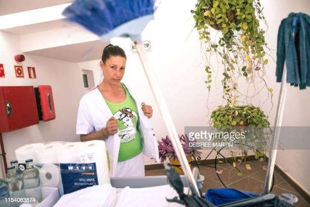 Myriam Barros one of the spokeswomen of The Kellys association a contraction of las que limpian in Spanish or those who clean poses after cleaning an...