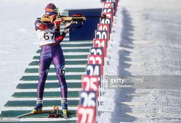 Myriam Bedard competes in the Women's 15k Biathlon event of the 1994 Winter Olympics held on February 18 1994 at Birkebeineren Ski Stadium in...