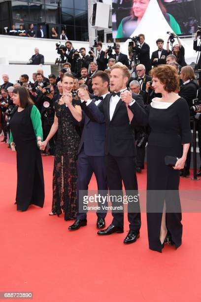 Myriam Boyer Marine Vacth director Francois Ozon Jeremie Renier and Jacqueline Bisset attend the 'Amant Double ' screening during the 70th annual...