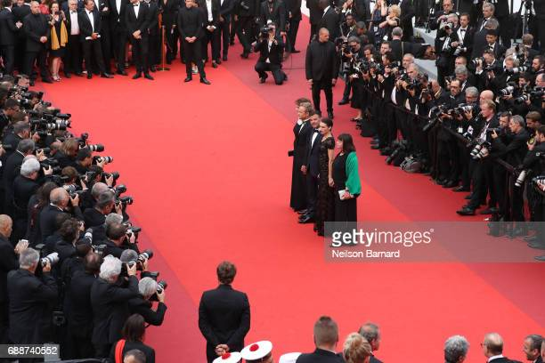 Myriam Boyer Marine Vacth director Francois Ozon Jeremie Renier and Jacqueline Bisset attend 'Amant Double ' Red Carpet Arrivals during the 70th...