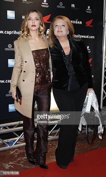 Myriam Catania and her mother attend the La Donna Della Mia Vita premiere at Barberini Cinema on November 22 2010 in Rome Italy