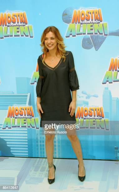 Myriam Catania arrive at the Hassler Hotel to attends a photocall for the movie Monsters vs Aliens on March 13 2009 in Rome Italy