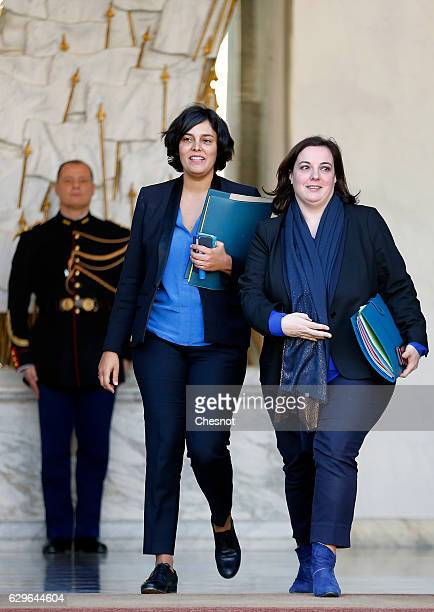 Myriam El Khomri French Labour Minister and Emmanuelle Cosse French Housing Minister leave the Elysee Presidential Palace after a weekly cabinet...