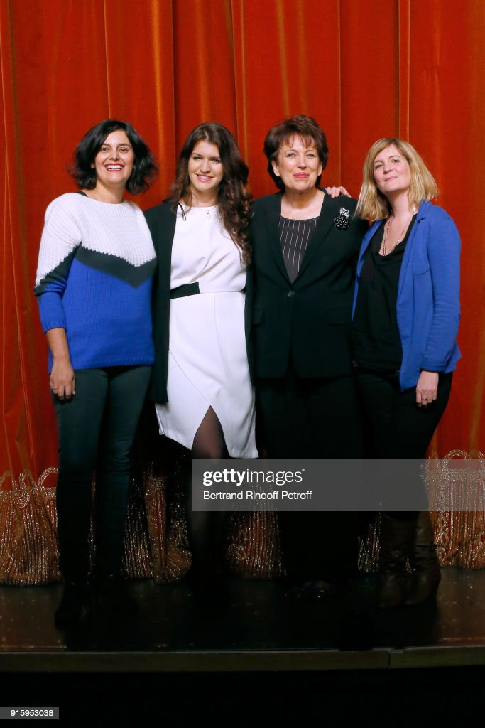 Myriam El Khomri, State Secretary for Equality between Women and Men, Marlene Schiappa, Roselyne Bachelot; They will play the 'Vaginal Monologues - Les Monologues du Vagin' at Bobino on March 7, 2018 for the benefit of the 'Feminist Collective Against Rape - Collectif Feministe contre le viol'; and their Stage Director Coralie Miller attend the Presentation of the 'Citizens' Words - Paroles Citoyennes' Festival on February 1, 2018 in Paris, France.