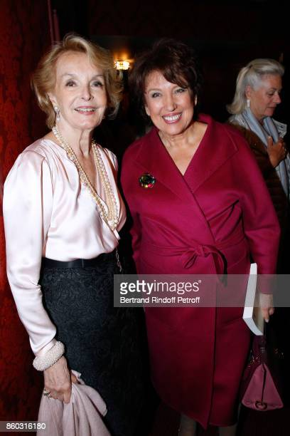 Myriam Feune de Colombi and Roselyne BachelotNarquin attend the 'Novecento' Theater Play in support of APREC at Theatre Montparnasse on October 11...