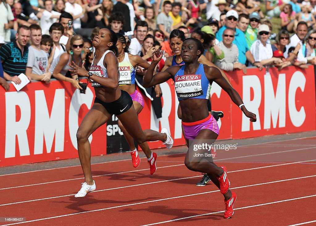 Myriam Soumare of France wins the 200m final during the 2012 French Elite Athletics Championships at the Stade du Lac de Maine on June 17, 2012 in Angers, France.