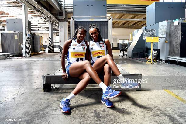 Myriam Sylla and Sylvia Chinelo of National Team of Italy women volley pose during the DHL Italy Men women Volleyball team meeting at Malpensa...