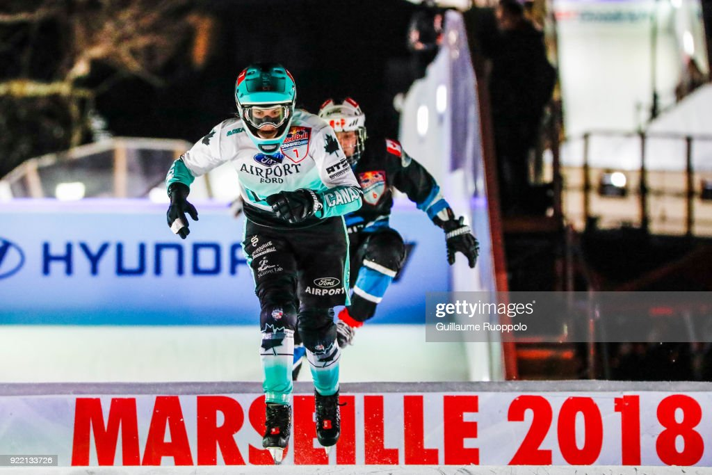 Myriam Trepanier during the Red Bull Crashed Ice Marseille 2018 on February 17, 2018 in Marseille, France.