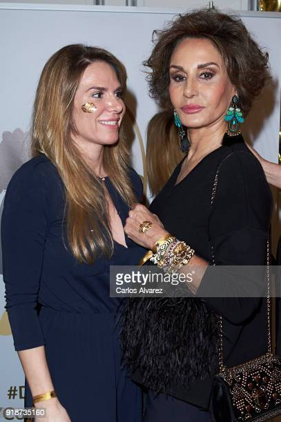 Myriam Yebenes and Naty Abascal attend 'Dream In Gold' presentation campaign at Palace Hotel on February 15 2018 in Madrid Spain