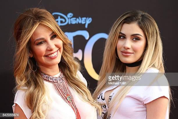 Myrka Dellanos and Alexa Dellanos arrive at the Los Angeles premiere of Disney's 'The BFG' held at the El Capitan Theatre on June 21 2016 in...