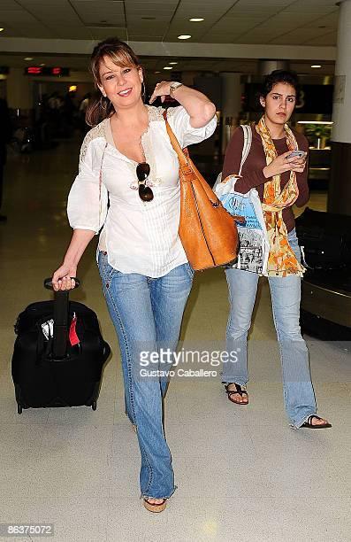 Myrka Dellanos and daughter Alexa Carolina are seen on May 4 2009 in Miami Beach Florida