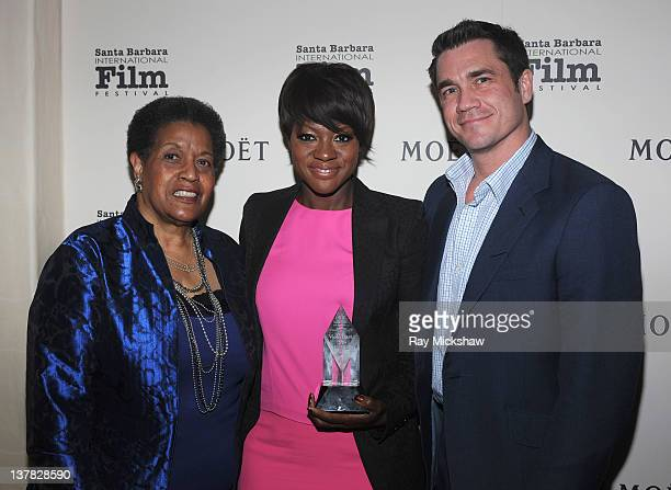Myrlie EversWilliams Actress Viola Davis and Director Tate Taylor backstage at the Outstanding Performer of the Year Award Tribute to Viola Davis at...