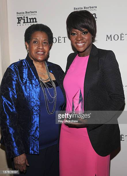 Myrlie EversWilliams and Actress Viola Davis backstage at the Outstanding Performer of the Year Award Tribute to Viola Davis at the Arlington Theater...