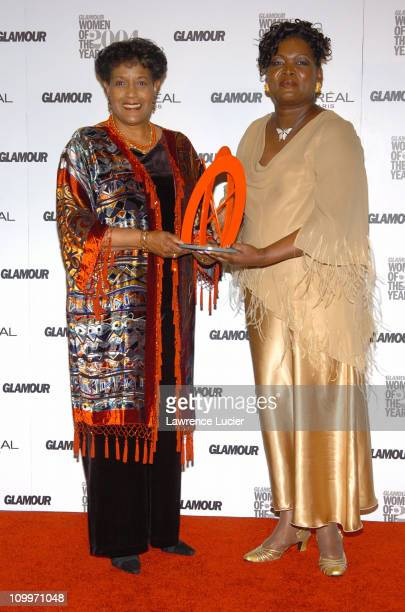 Myrlie EversWilliams and Alice Coles during The 15th Annual Glamour Women of the Year Pressroom at The American Museum of Natural History in New York...