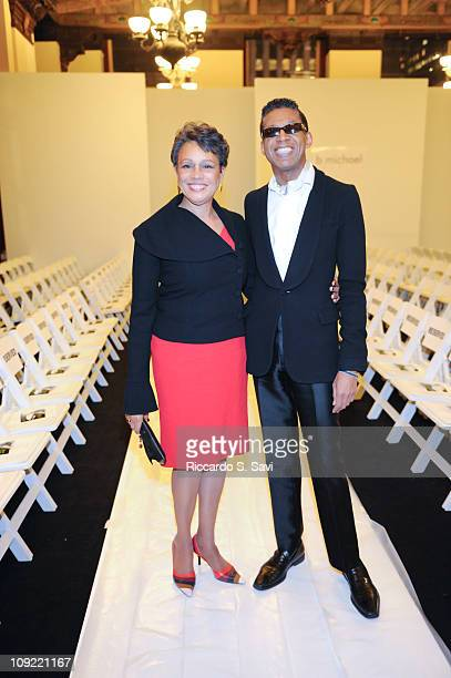 Myrna Colley-Lee and b. Michael America attend the b. Michael America Fall 2011 fashion show during Mercedes-Benz Fashion Week at The Plaza Hotel on...