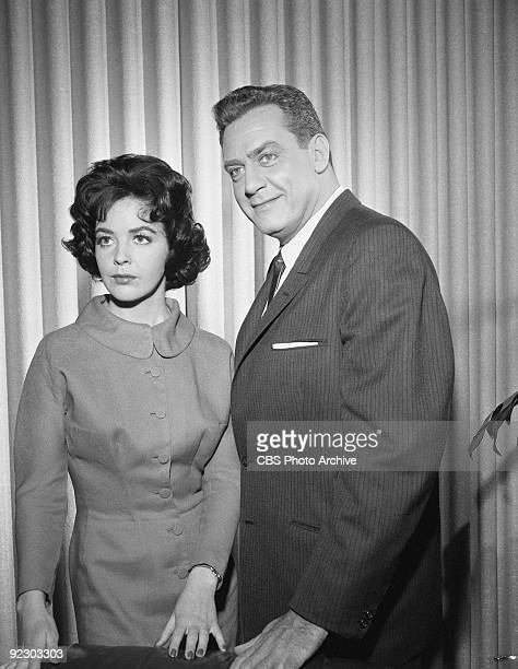 MASON Myrna Fahey as Grace Halley and Raymond Burr as Perry Mason in The Case of the Violent Vest Image dated March 31 1961