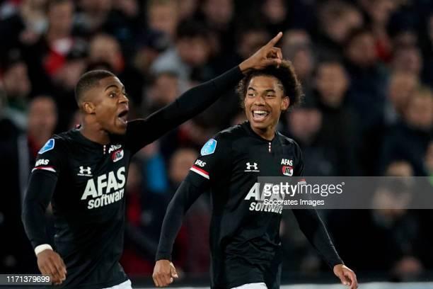 Myron Boadu of AZ Alkmaar, Calvin Stengs of AZ Alkmaar during the Dutch Eredivisie match between Feyenoord v AZ Alkmaar at the Stadium Feijenoord on...