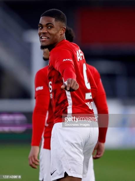 Myron Boadu of AZ Alkmaar celebrates 3-2 during the Dutch Eredivisie match between AZ Alkmaar v Feyenoord at the AFAS Stadium on February 28, 2021 in...