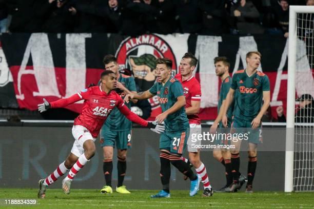 Myron Boadu of AZ Alkmaar, celebrates the 1-0 during the Dutch Eredivisie match between AZ Alkmaar v Ajax at the AFAS Stadium on December 15, 2019 in...