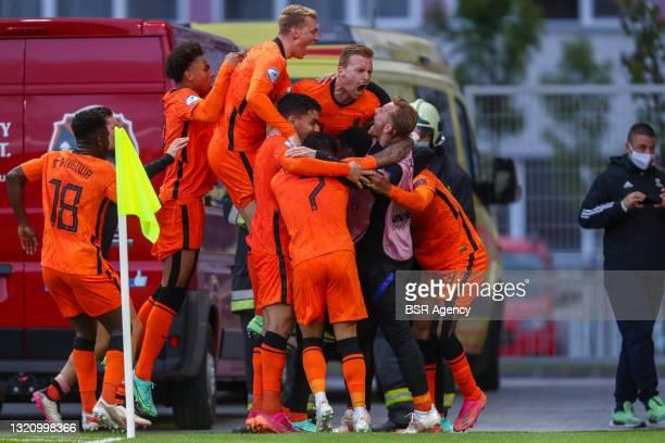 Myron Boadu of Netherlands U21 celebrates after scoring his sides second goal with Kaj Sierhuis of Netherlands U21, Jurgen Ekkelenkamp of Netherlands...