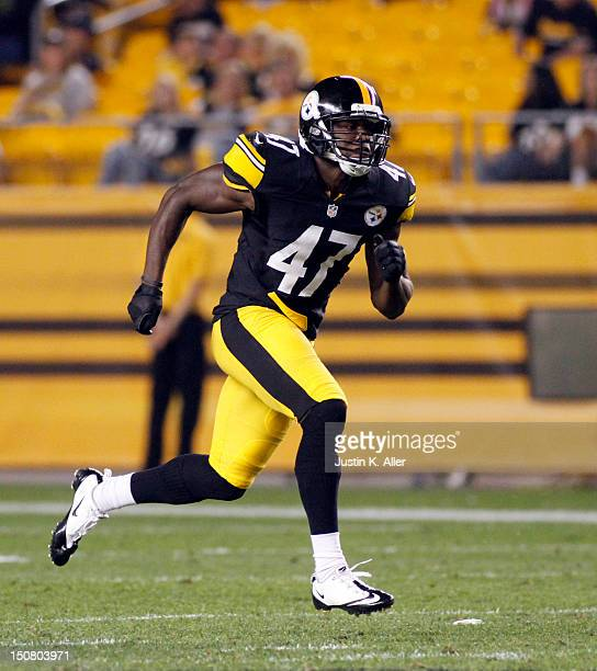 Myron Rolle of the Pittsburgh Steelers runs against the Indianapolis Colts during the game on August 19 2012 at Heinz Field in Pittsburgh Pennsylvania