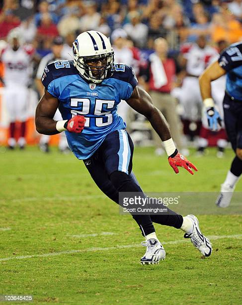 Myron Rolle of the Tennessee Titans defends against the Arizona Cardinals during a preseason game at LP Field on August 23 2010 in Nashville...