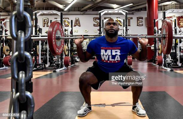 Myron Rolle works out in the Florida State University football team's weight room on Thursday March 16 2017 Rolle is a former FSU football player...