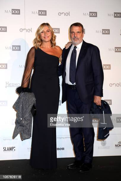 Myrta Merlino and Marco Tardelli attend MAXXI Acquisition Gala Dinner at Maxxi Museum on November 5 2018 in Rome Italy