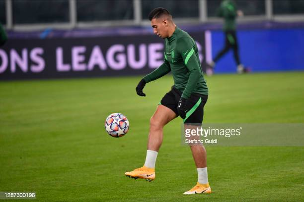 Myrto Uzuni of Ferencvárosi Budapest during of training session ahead of the UEFA Champions League Group G stage match between Ferencvaros Budapest...